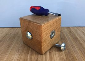 Flat Head Screwdriver cube made from solid Oak